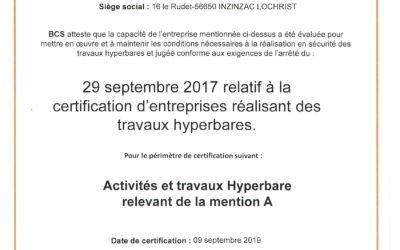 Certification d'entreprise travaux hyperbares