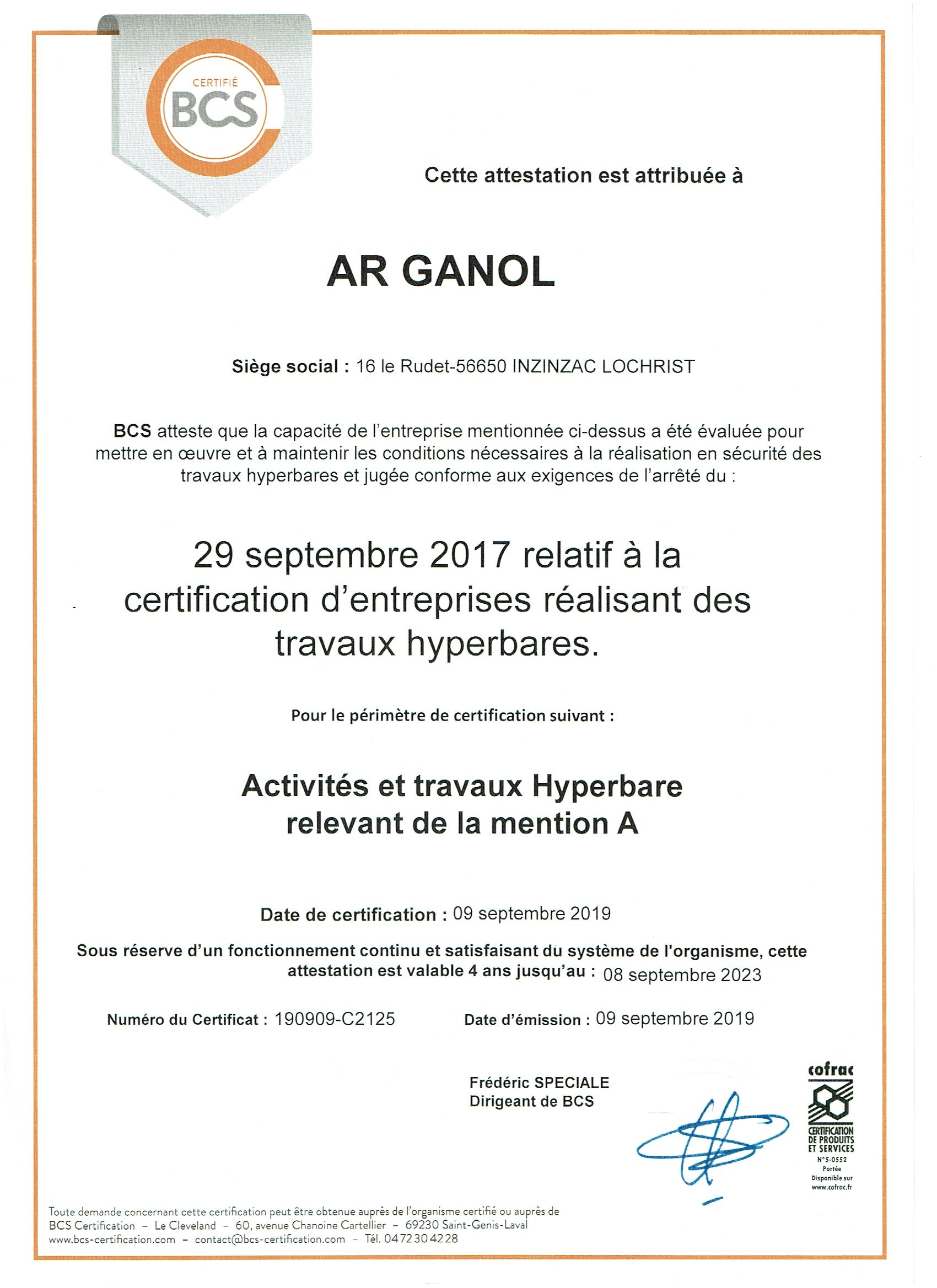 CERTIFICATION TRAVAUX HYPERBARES